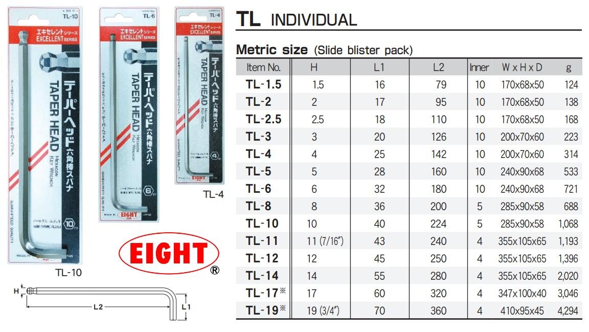 Lục giác chữ L, lục giác đầu bi, lục giác Eight, lục giác dòng TL, TLS-9, TL-