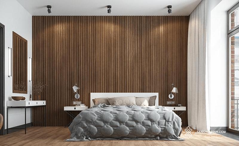 Gỗ nhựa ốp tường phòng ngủ