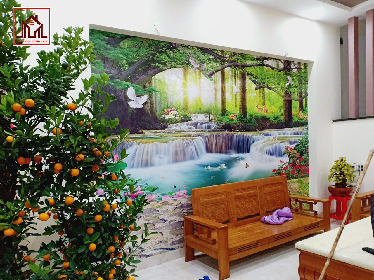 Tranh dán tường 3D sơn thủy hữu tình Lào Cai