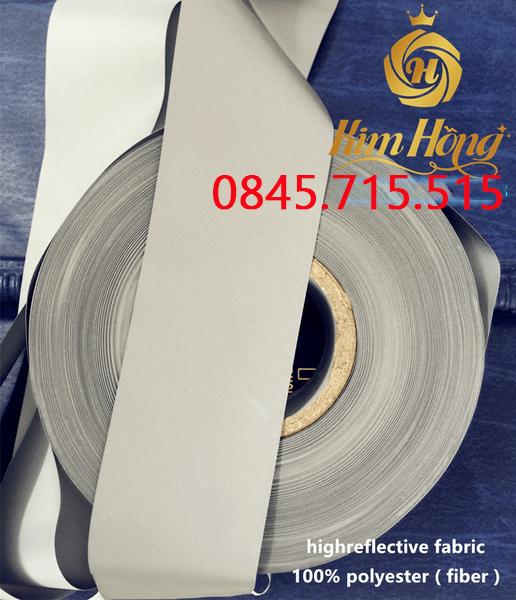 DÂY PHẢN QUANG POLY  sáng bạc( high reflective fabric)
