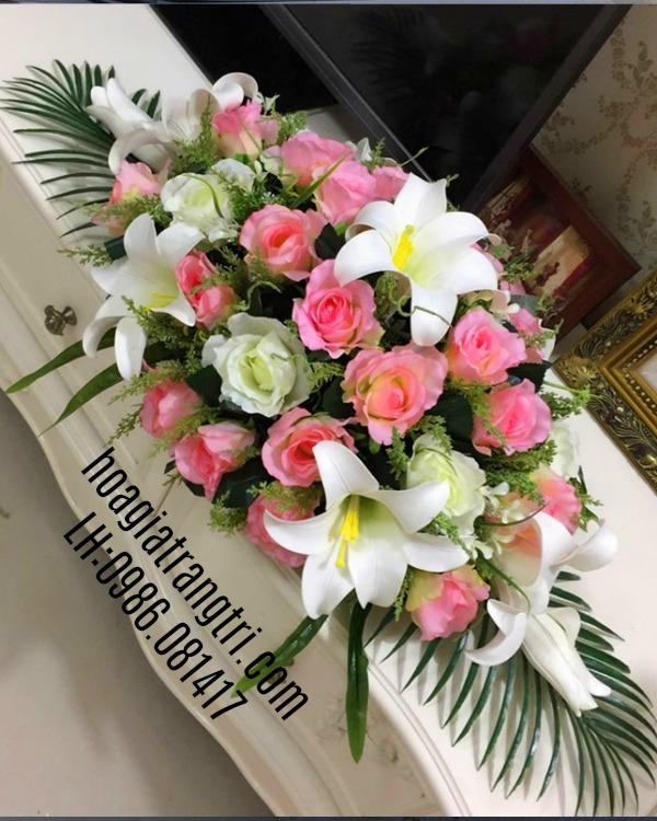 Hoa giả trang trí phòng họp tại Hoa lụa Phương Thảo