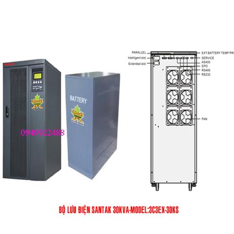 Bộ lưu điện santak 3C3-EX30KS(ắc quy ngoài 3p vào 3 p ra )
