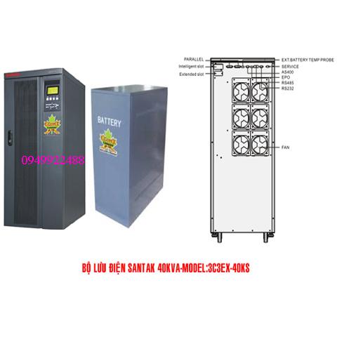 Bộ lưu điện santak 3C3-EX40KS ( ắc quy ngoài 3p vào 3 p ra)