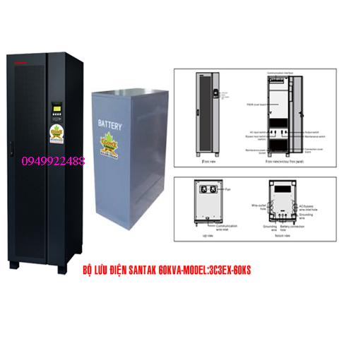 Bộ lưu điện santak 3C3-EX60KS ( ắc quy ngoài 3p vào 3p ra )