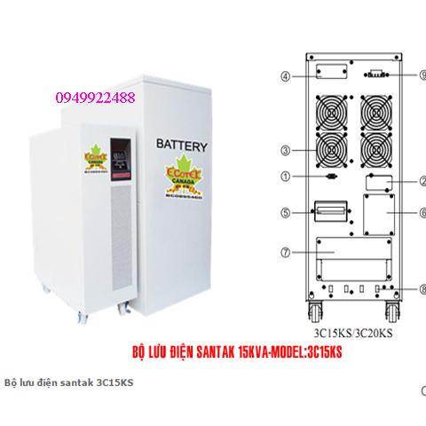 Bộ lưu điện santak 3C15KS ( ắc quy ngoài 3p vào 1 p ra )