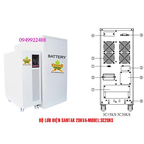 Bộ lưu điện santak 3C20KS ( ắc quy ngoài 3p vào 1p ra)