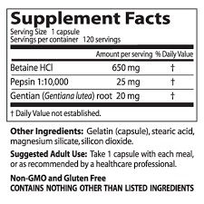 Betaine HCL Pepsin and Gentian Bitters fact