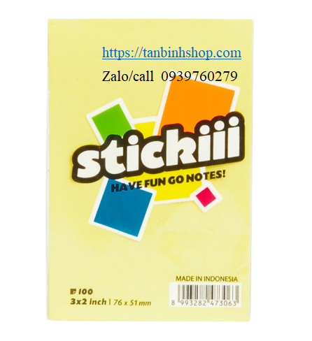 Giấy Note Stickiii (3x2) inch, (51x76)mm