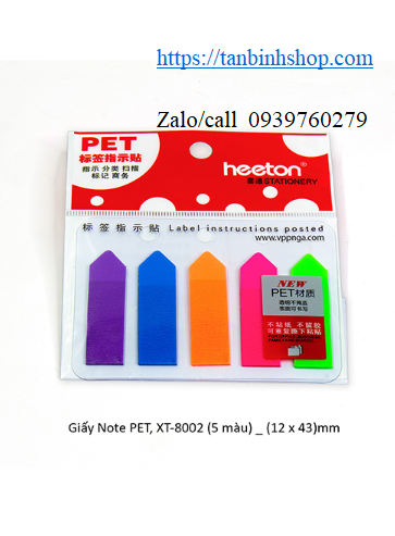Giấy Note PET, XT-8002 (5 màu) _ (12 x 43)mm