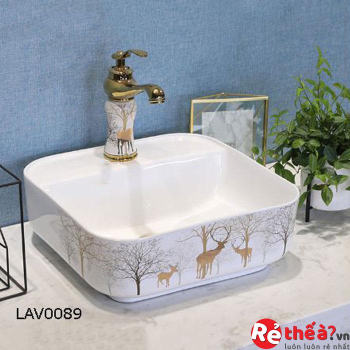 Chậu rửa gốm sứ nghệ thuật LAVABO LAV0089