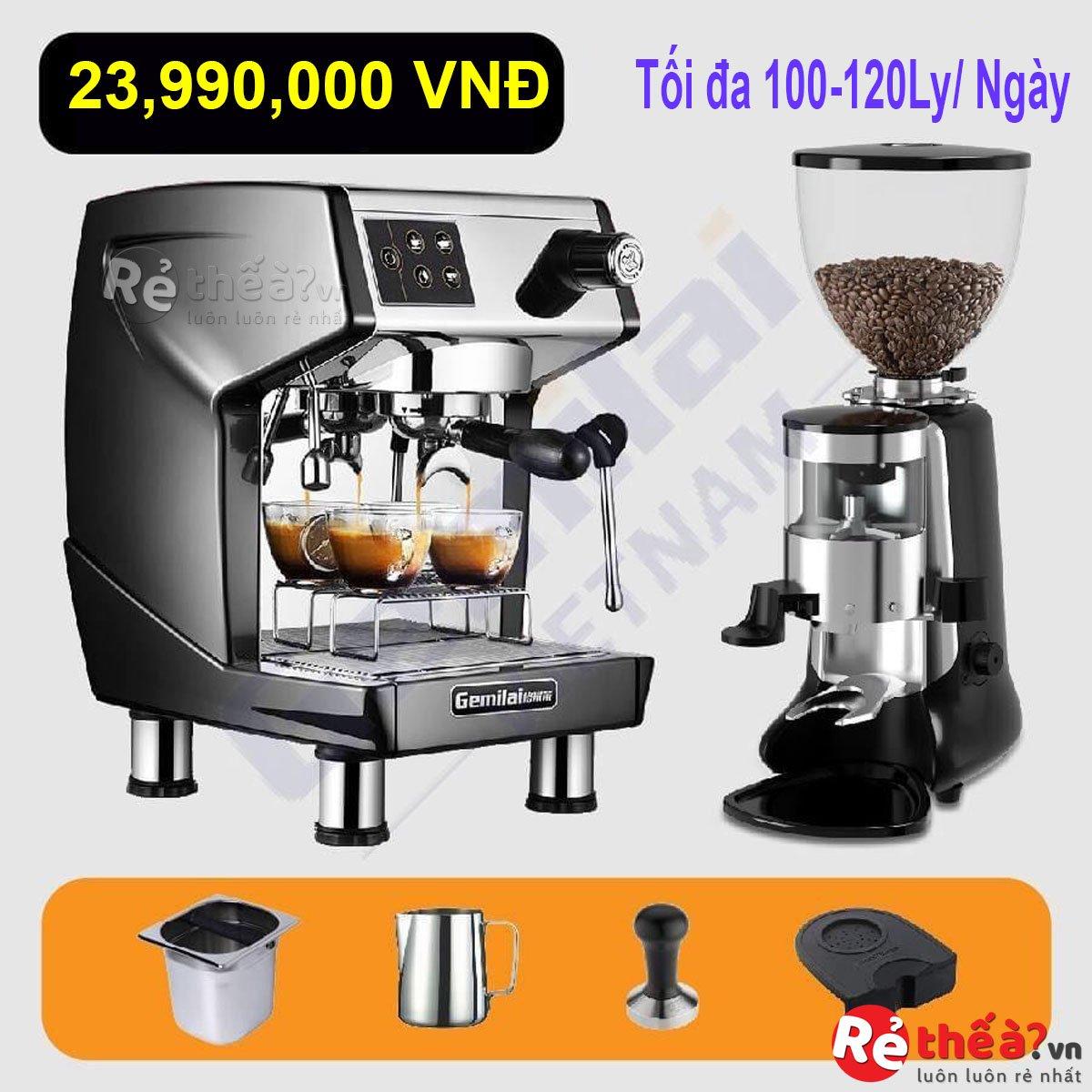 Combo máy pha cà phê GEMILAI CRM-3200D và Máy xay cà phê HC600