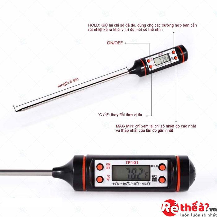 Nhiệt kế đo nhiệt độ nước, thực phẩm đa năng TP101