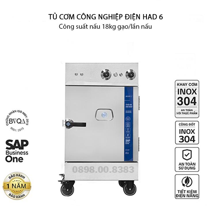 Tủ nấu cơm công nghiệp HAD 6 – Điện 6 khay