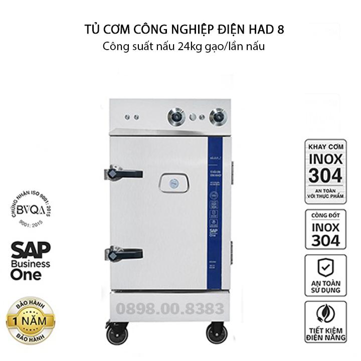Tủ nấu cơm công nghiệp HAD 8 – Điện 8 khay