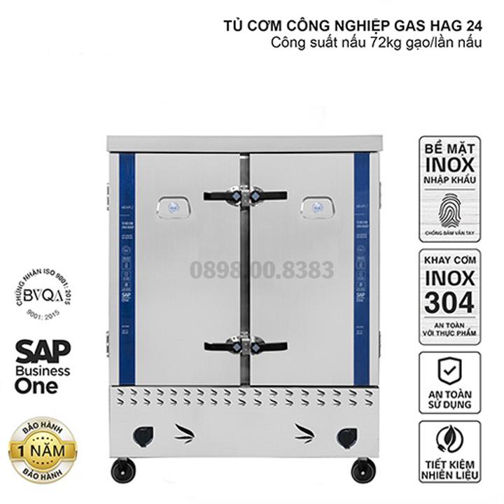 Tủ nấu cơm công nghiệp HAG 24 – Gas 24 khay