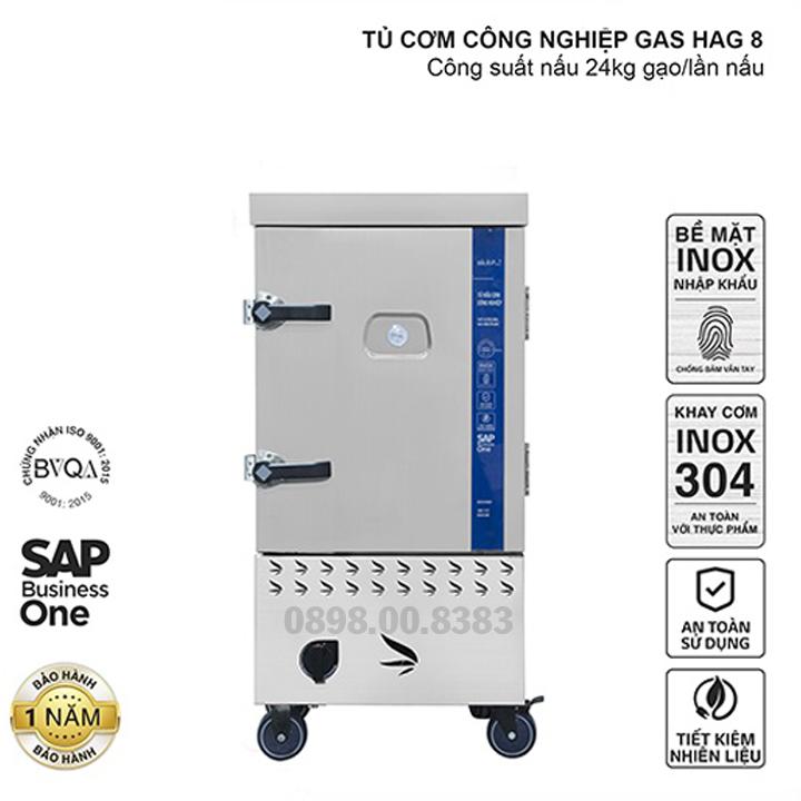 Tủ nấu cơm công nghiệp HAG 8 – Gas 8 khay