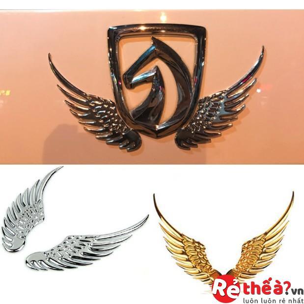 Bộ 2 miếng dán cánh thiên thần trang trí logo xe ô tô