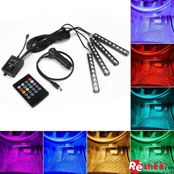 Bộ đèn LED gầm xe ô tô - Gồm 4 thanh LED đổi 48 màu tuỳ chỉnh