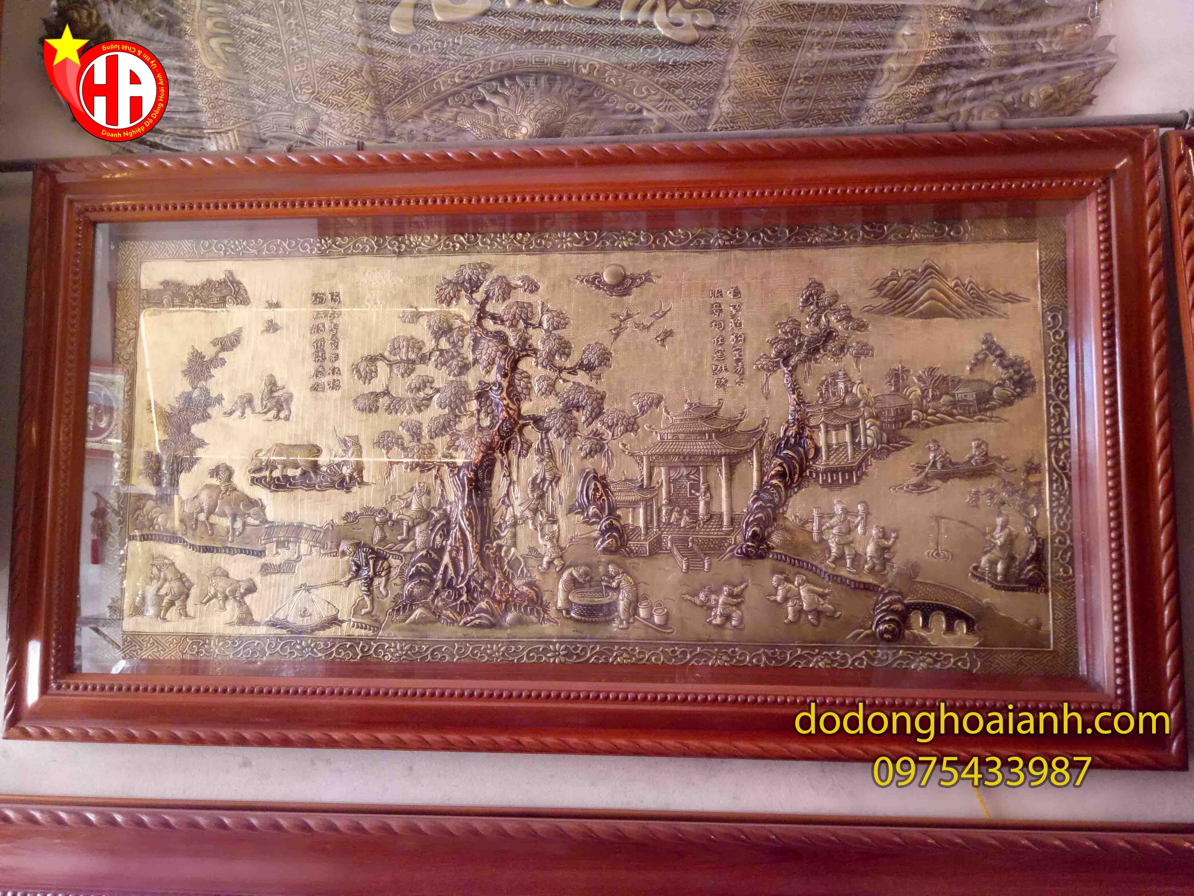 Tranh đồng đồng quê Việt Nam - đồ đồng Hoài Ánh