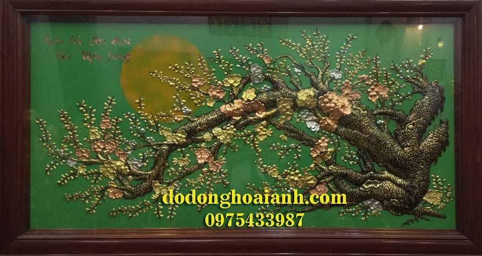 Tranh đồng mai hóa rồng nền xanh - đồ đồng Hoài Ánh