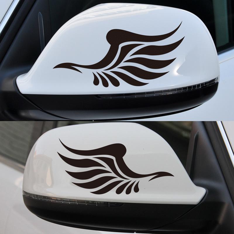 Tem dán đôi cánh thiên thần màu trắng - dán gương chiếu hậu ô tô