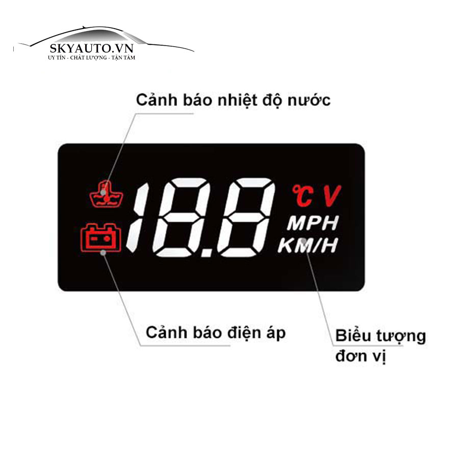 Hiển thị tốc độ trên kính lái HUD A100