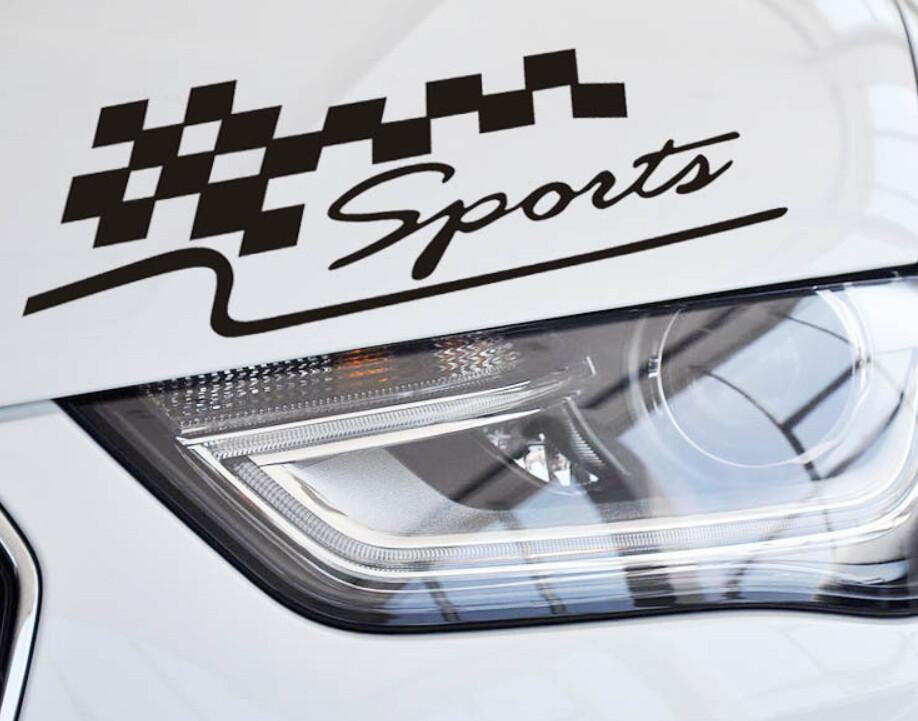 Tem dán Sport kẻ Caro chữ màu trắng trên xe hơi