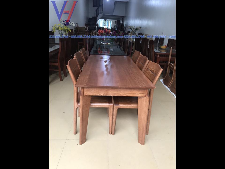 Bộ bàn ăn gỗ sồi mặt kính: GH-6036
