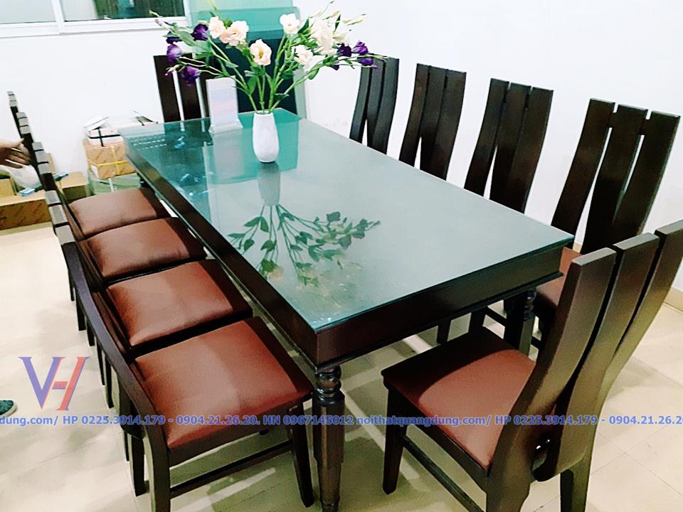 siêu phẩm bộ bàn ăn 10 ghế taih nội thất quang dũng hải phòng