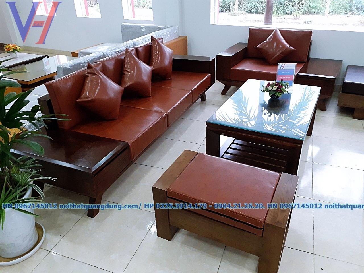 Sofa 2 văng gỗ da cực chất tại nội thất quang dũng hải phòng