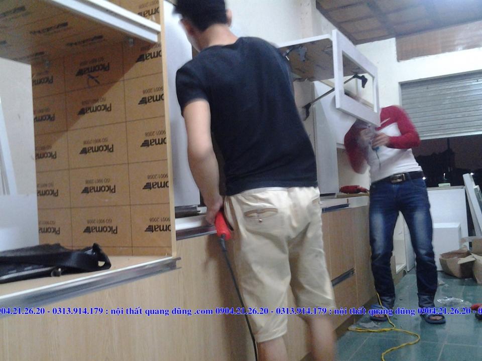 Một số hình ảnh & video quá trình thi công tủ bếp.