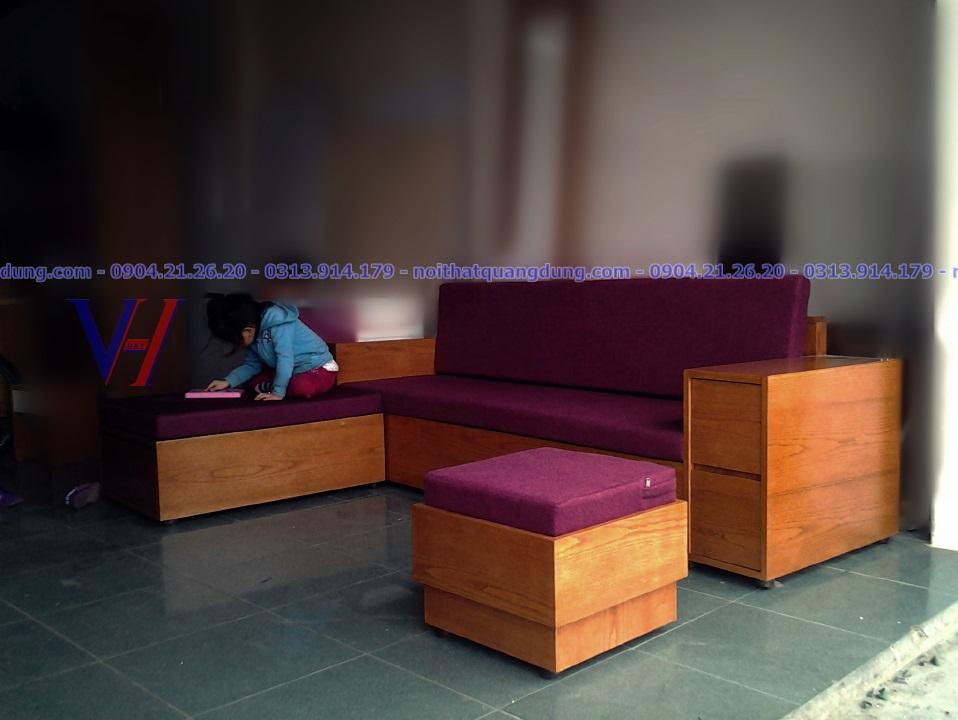 sofa gỗ veneer bọc nỷ đẹp