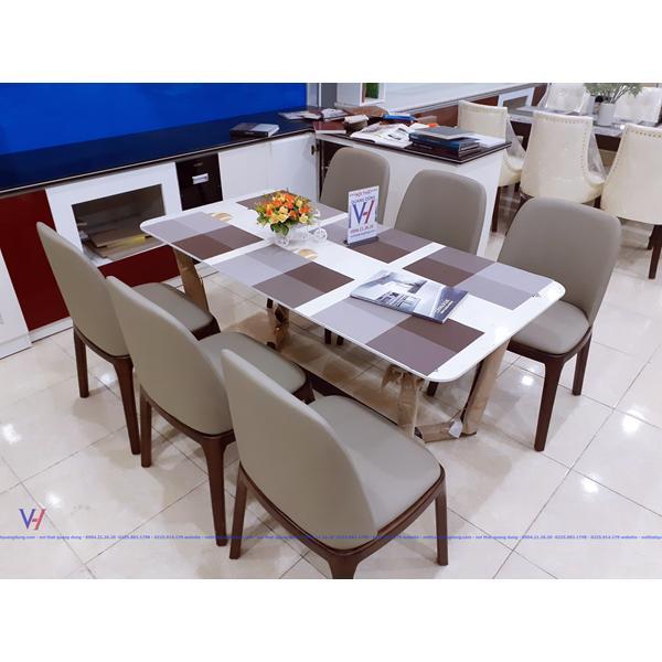 bàn ăn đá ghế da tại hải phòng