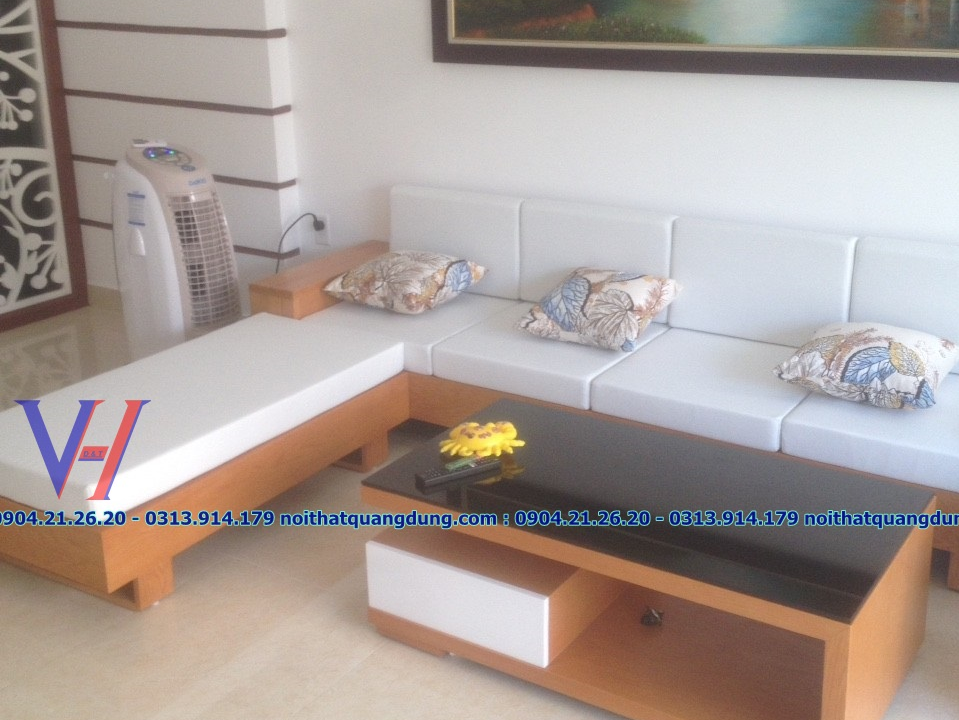 sofa gỗ + nỉ quang dũng