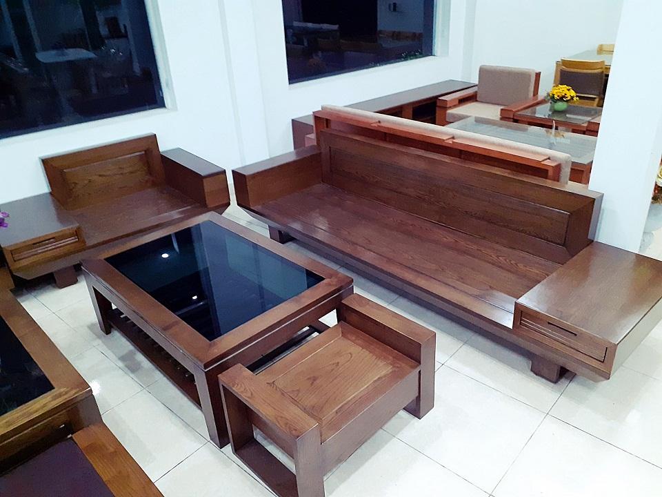 Bộ sofa 2 văng gỗ sồi da joyal cực đẹp hải phòng