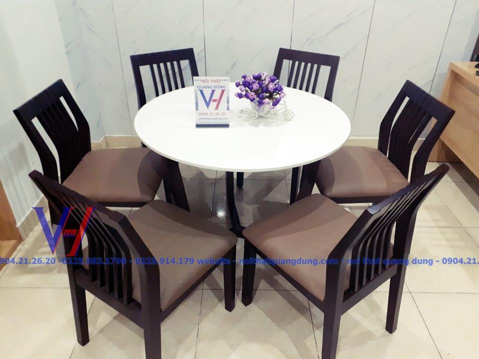 bộ bàn ăn tròn ghế nhập khẩu tại nội thất quang dũng hải phòng