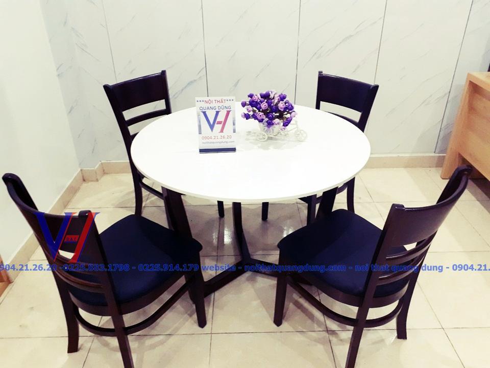 bộ bàn ăn mặt đá tròn giá cực rẻ tại Quang Dũng Hải Phòng