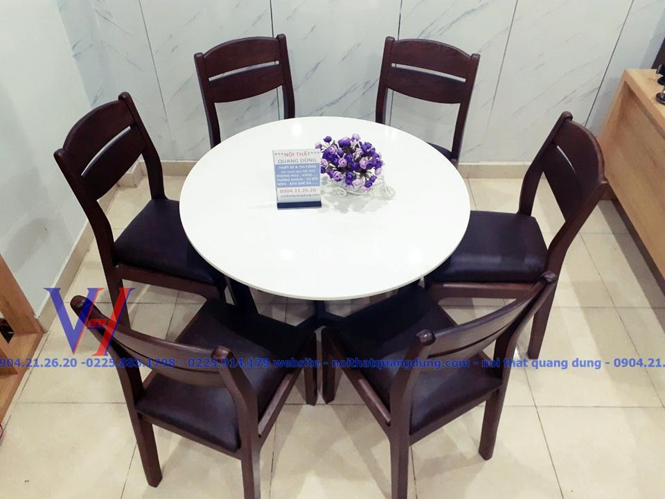 bàn ăn tròn đẹp và chắc chắn tại Nội Thất Quang Dung Hải Phòng