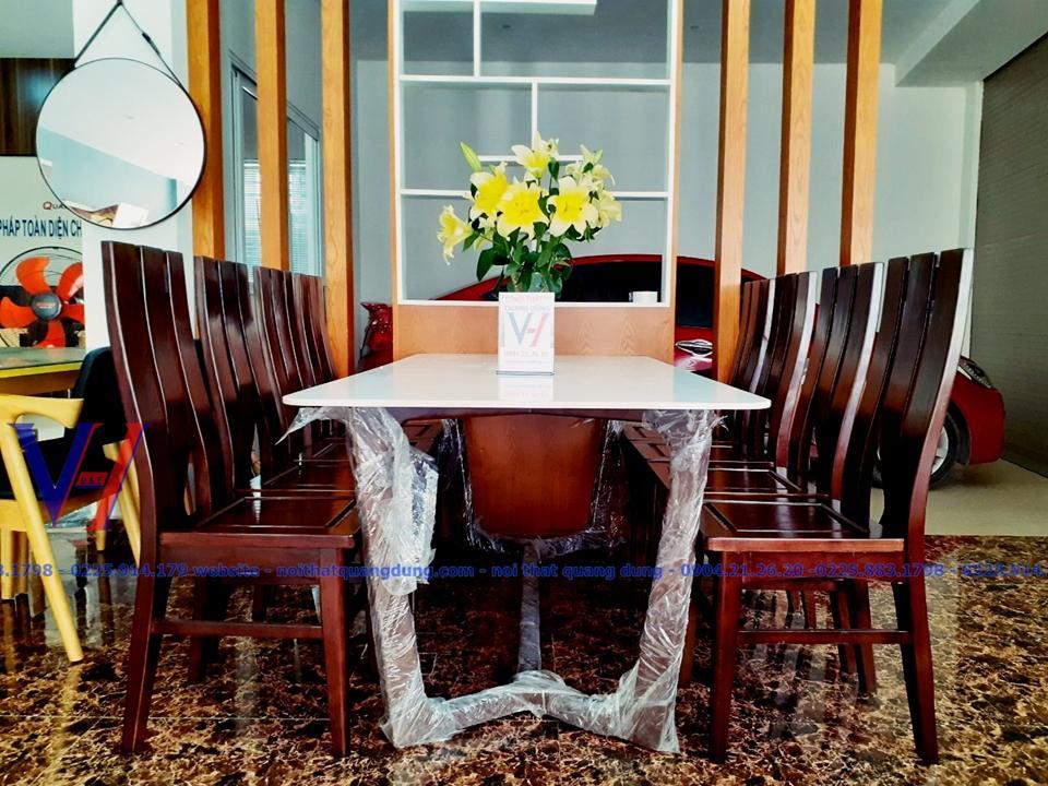 BỘ bàn ăn mặt đá rộng đến 91 dài 181 nội thất quang dũng