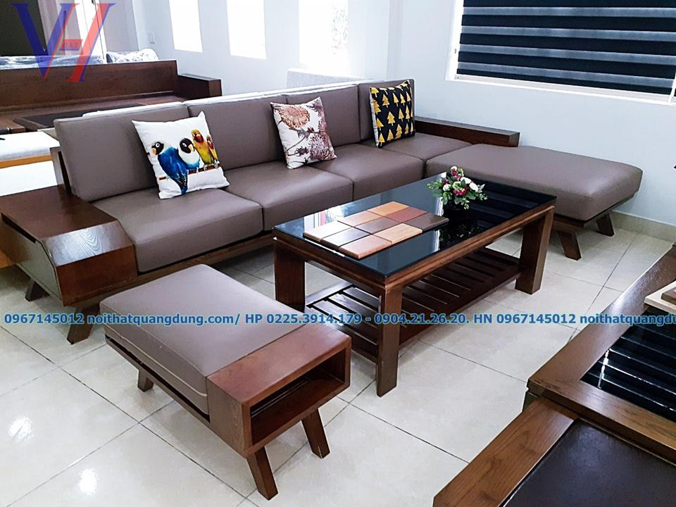 sofa gỗ ,da chữ L đệm phồng nội thất quang dũng hải phòng