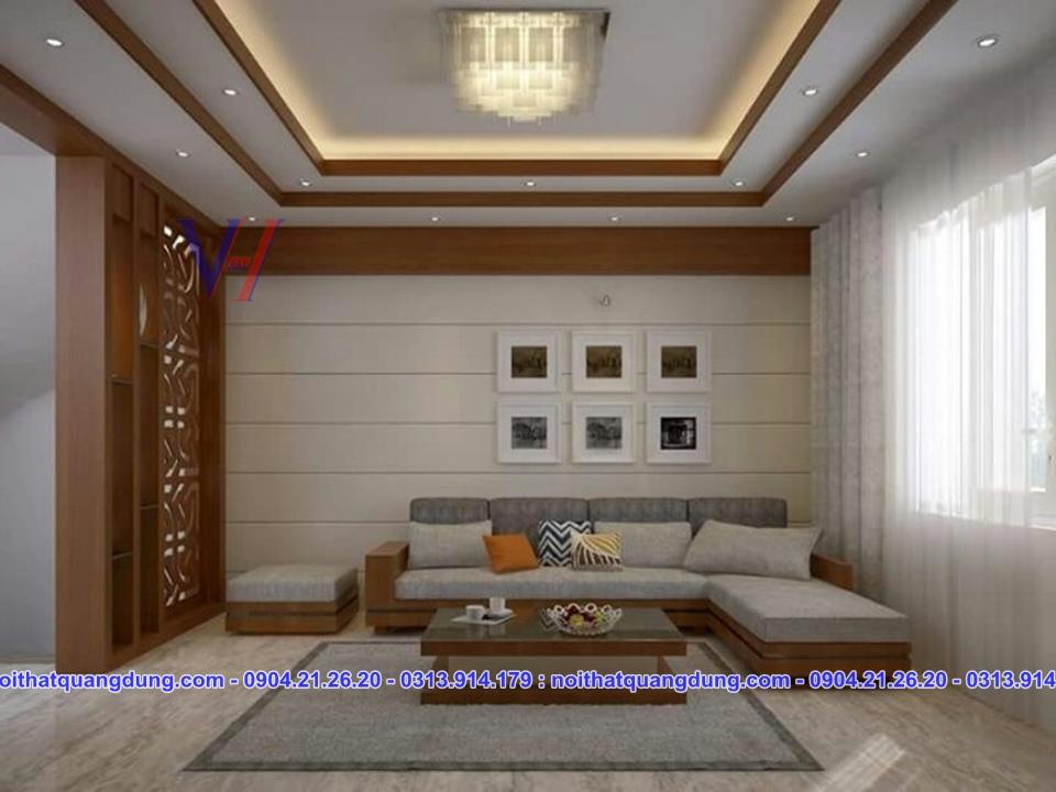 sofa gỗ bọc nỷ đẹp và chắc chắn