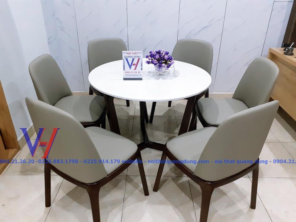 Bộ bàn ăn tròn Grace6 nội thất quang dũng hải phòng