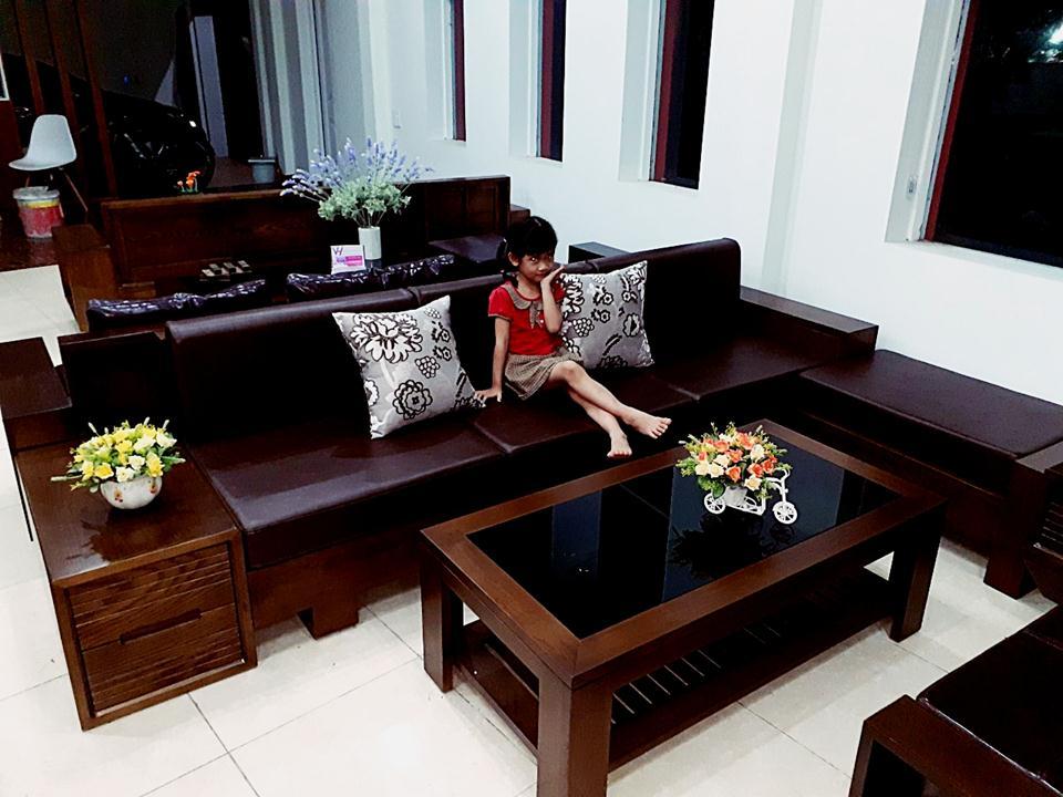sofa văng thẳng gỗ sồi tại nội thất quang dũng