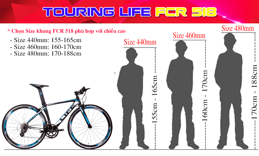 Size khung Life FCR518