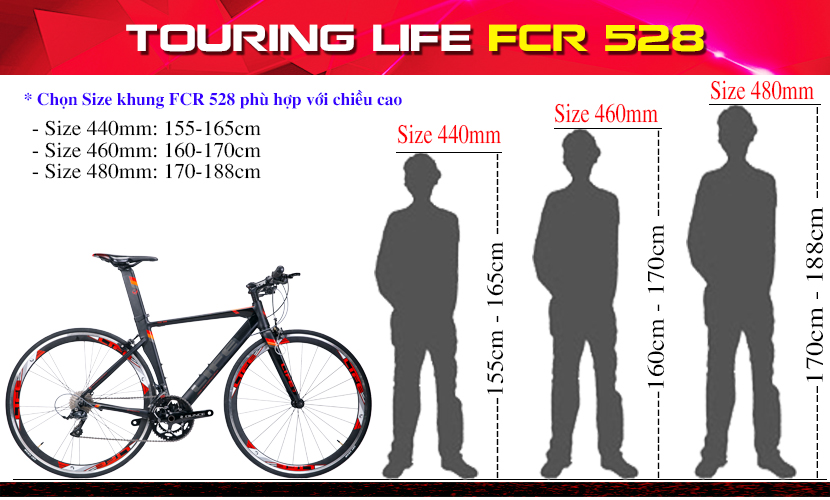 Size khung xe đạp touring Life FCR528