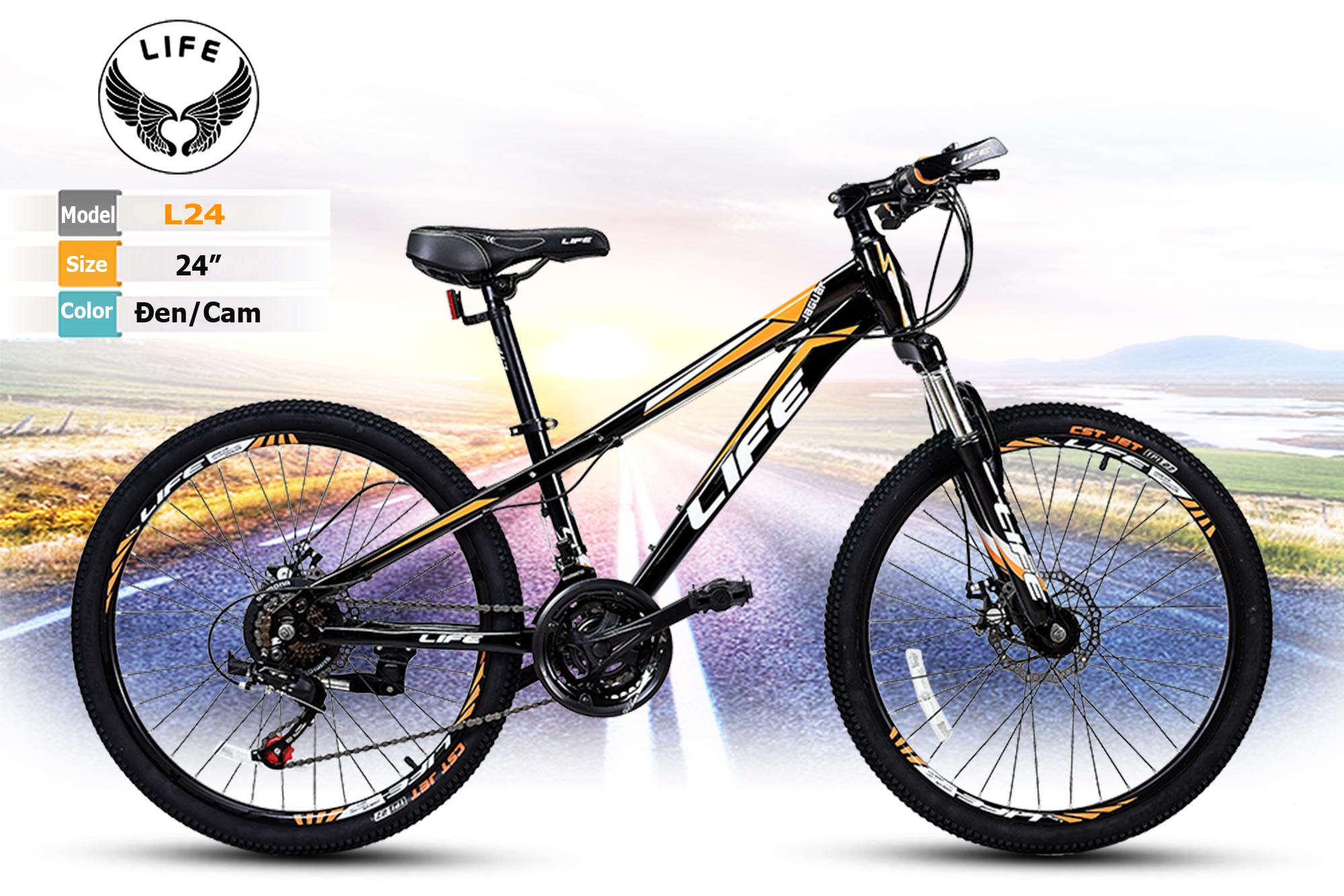 Xe đạp địa hình Life L24 màu Đen/Cam: Phong cách cao sang lịch lãm