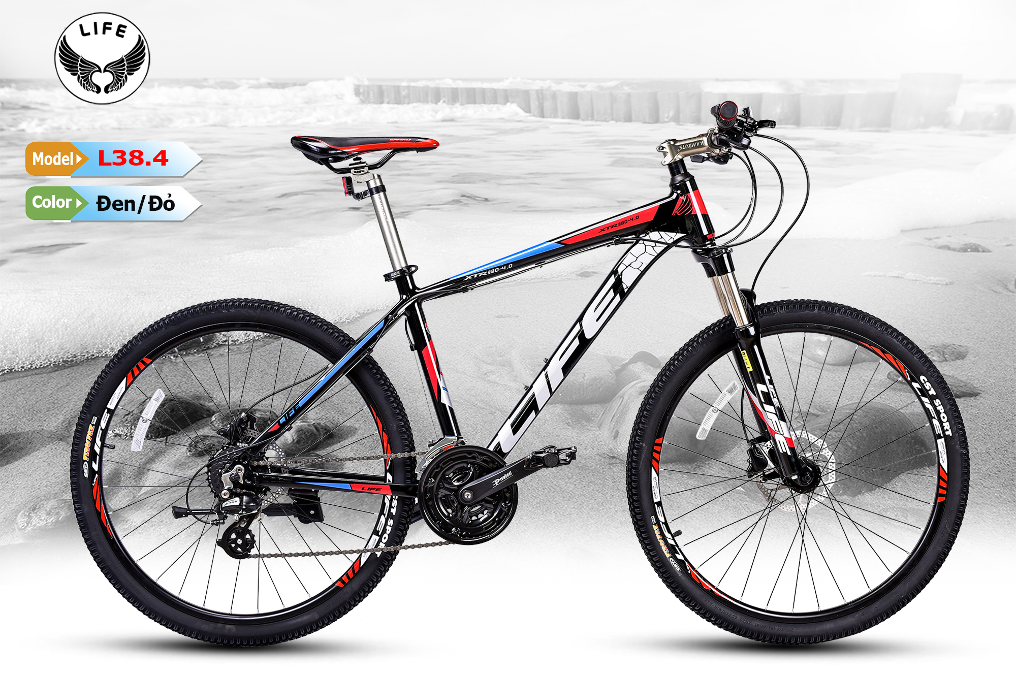 Xe đạp Life L38.4 đen đỏ