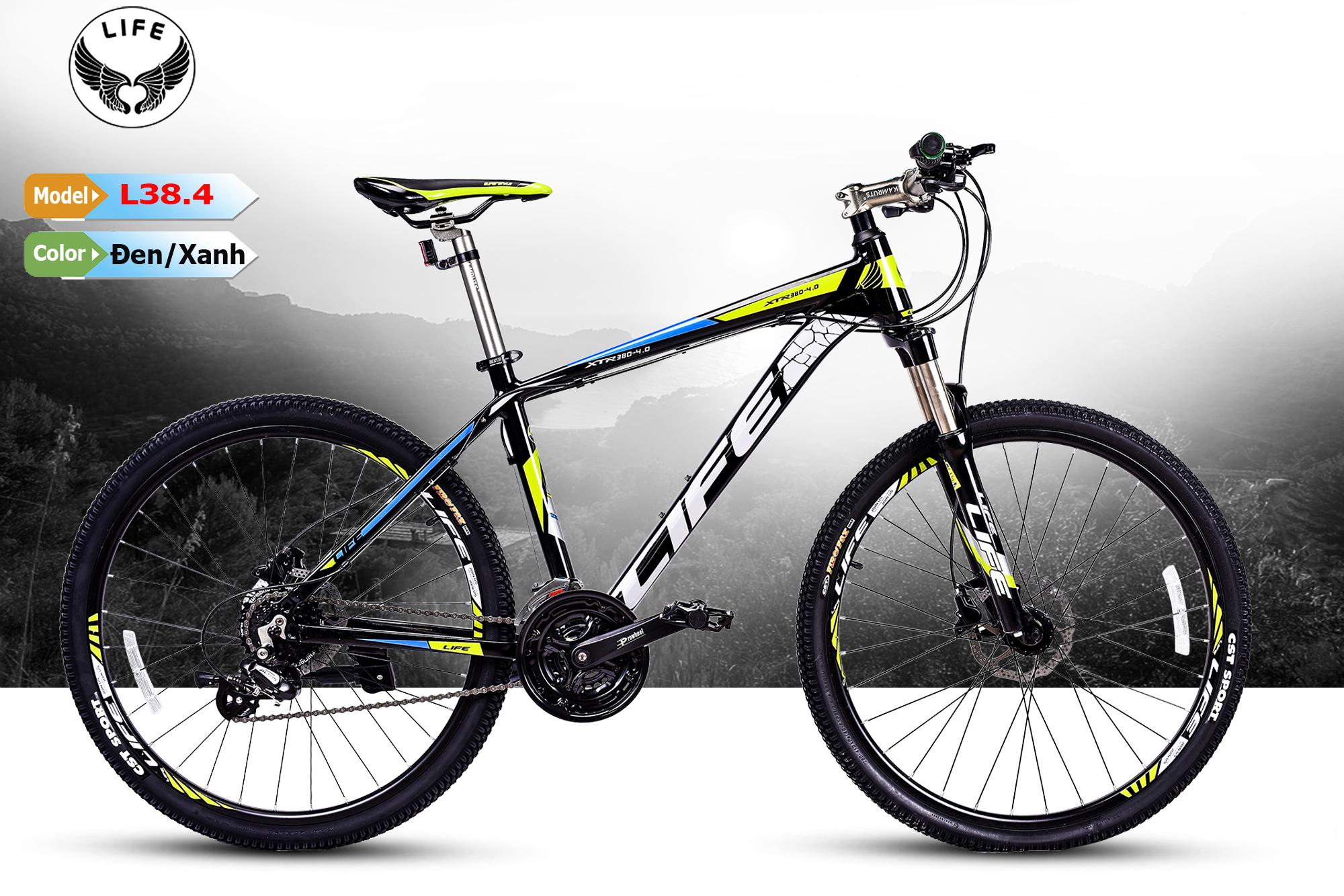 Xe đạp Life L38.4 đen xanh