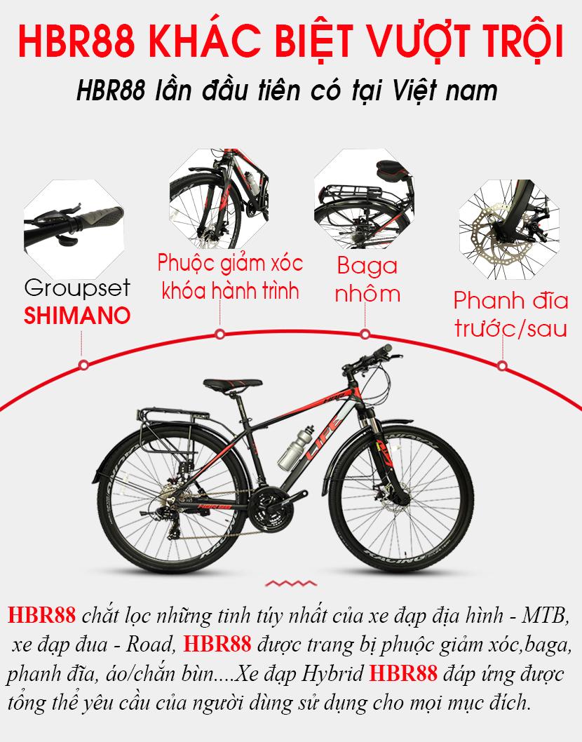 Xe đạp hybrid Life HBR88 khác biệt vượt trội