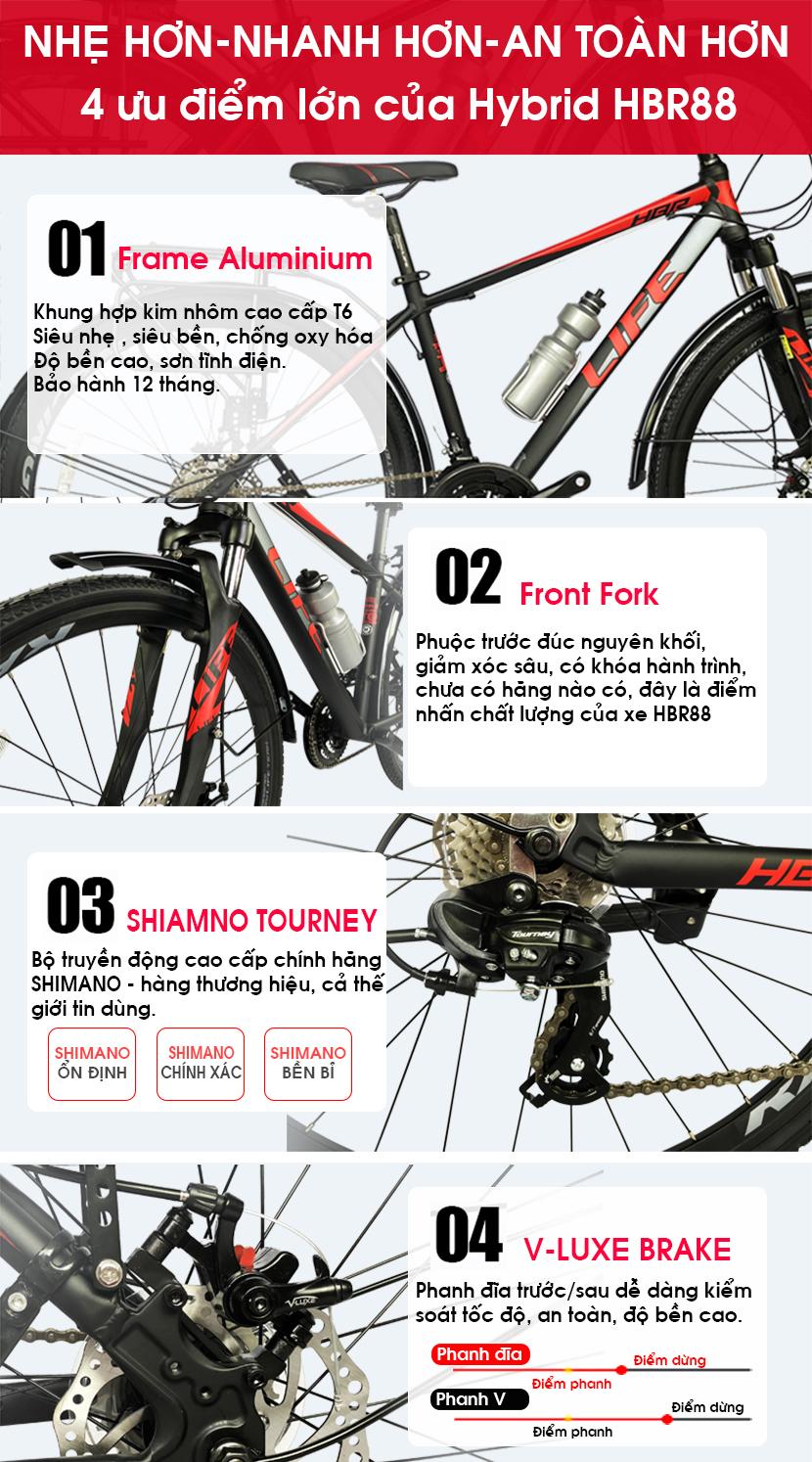 Xe đạp hybrid Life HBR88 thiết kế vượt trội